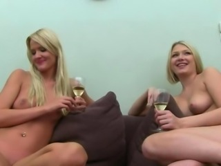 Two hot blondies ass fuck on ottoman