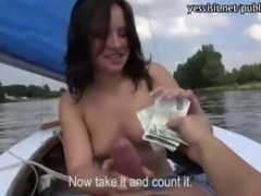 Eurobabe Shara Jones stuffed on a boat for some money