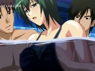 Three horny studs fucking a cute anime under water