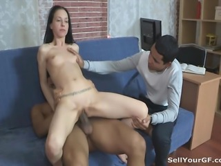 This guy has a nice job and fucks his white girlfriend right but it's still not enough to satisfy this greedy cock-craving slut. She wants more and when he decides to hook her up with his rich black teammate she looks really excited. She always wanted to see if that guy's cock was as perfect as his body and now she can finally take it balls deep in her tight juicy pussy moaning out loud and making her boyfriend extremely jealous and desperate.