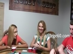 Young girls penetrate on poker night