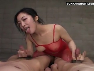 Asian Teen getting a bunch of cumshots.