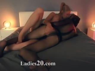 Crazy lesbs in nylon suits having sex