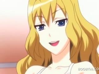 Sexy blonde anime doll fucks boner with huge boobs