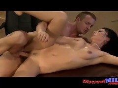 Hot MILF suck cock get fucked and squirts at the office and get facial to