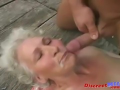 Amateur granny sucks cock and gets her hairy pussy fucked hard