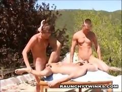 Hot Little Show Guys Fuck Outside