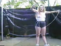 Wife outside with her jumprope