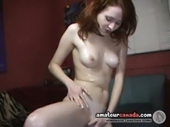 Slippery redhead slinking her petite fit body and tiny tits
