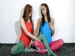 Hairy lezzs in nylon pants loving
