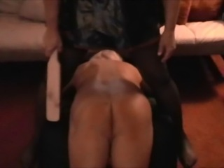 sissy husband paddled in chastity devise
