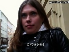 Czech slut Irina flashes and ripped good with a pervert stranger