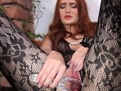 Gyno dildo in her huge redhead vagina