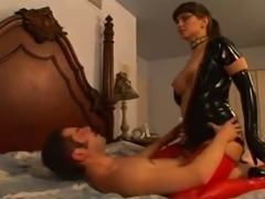 Busty babe in latex getting fucked
