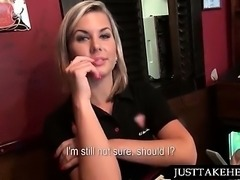 Hot waitress working loaded pecker in public