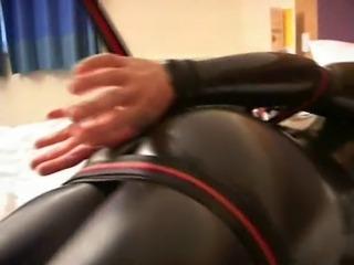 Self Bondage in catsuit