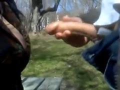 masturbator and whore in public park