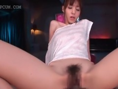Redhead slim Asian siren gets hairy snatch nailed deep and hard