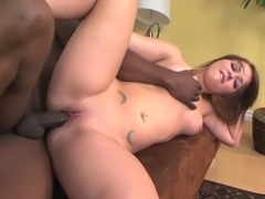 Redhead chick takes big black cock in her pussy