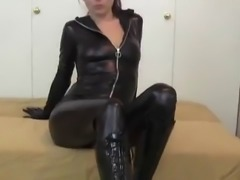 Leather catsuit & black boots