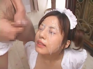 Naughty asian bukkake