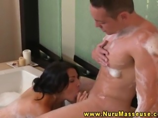 Raven babes massage in the shower for her horny client