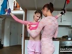Lesbian sex doll Natasha Shy dancing with her hot GF