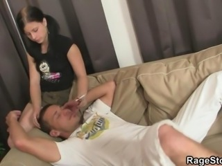 Rough gagging and pussy pounding