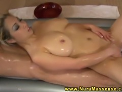 Blonde blows client during his massage at her parlor