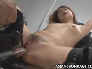 If you like Japanese bondage videos, you will love this video. This hot Asian babe get tied and attached upside down. She gets her pussy filled with some strange liquid. Eventually she gets attached and fucked by toys!