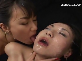 asian lesbians on bukkake cum facials