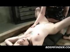 My cute little body gets lesbian dominated and I take a strap on fuck