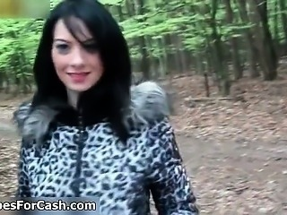 Nasty brunette slut gets horny walking