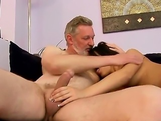 Amabella is feeling very lonely and horny so she is being fucked by handsome and bearded grandpa and his dick that still has some juice in it to please such a young girl as Amabella.