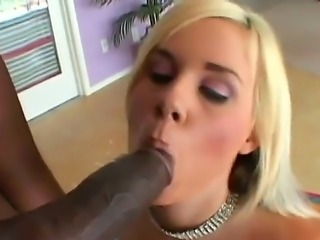 Fantastical blonde Rachel Solari with beautiful boobs was sucking big black dick to the bitter end