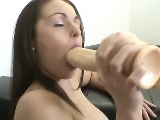 Sexy brunette babe decides to go solo as she plays with huge dildo for maximum pleasure