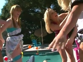 Cristian Devil and Rocco Siffredi are going to have a lot of fun partying with teen bitches Marie McCray, Natasha Nice and Shawna Lenee by the pool. These teens are slutty!