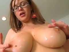 Huge tits slutty babe Sara Stone enjoys having her pussy ravaged by horny hot...