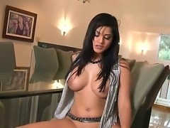 Unforgettable Brunette babe with big boobs Sunny Leone rubs her kitty alone...