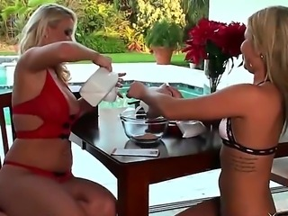 Two gorgeous busty blonde pornstars Becky and Molly Cavalli in the seductive...