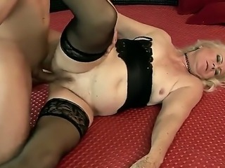 Crazy granny Mylen gets an awesome cunnilingus and sucks a young cock