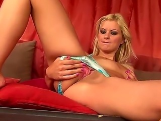 Glamorous blonde Brigit doesnt takes off her panties playing with her pussy...