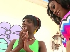 Chocolate skinned sluts Ana Foxxx and Yasmine de Leon teasing us to get...