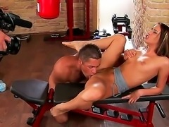 Backstage movie with amazing Aleska Diamond and her coach fucking in the gym