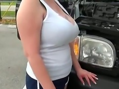 A met this appetizing blonde milf on the car parking! This lady has problems...