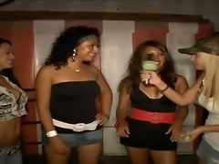 Wonderful chicks are having fun with their friend on a cool party, where they...