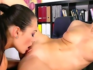 Dana Weyron and Denise Sky are enjoying a great office lesbian fuck