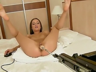 This young girl is ready for any crazy sexual actions! Ashley demonstrates dangerous experiments with the big ugly sex machine! It has different sets and nozzles for stimulations!