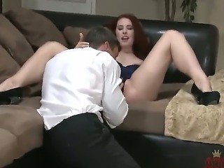 Melody Jordan is ready to go out on the town but her man has other ideas. He wants to get her out of her sexy outfit and butt-fuck the buxom redhead right there in the living room.