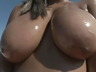 Monica is an excellent Ebony goddess with amazing huge charms. Babe doesnt like to swim in swimsuit because there arent so big swim suits for her boobies!